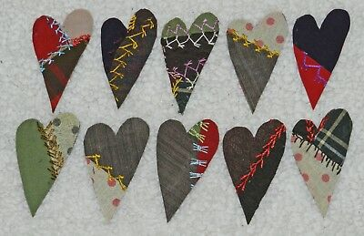 10 Primitive Antique Vintage Cutter Crazy Quilt Hearts! Crafts, Scrapbooking #15