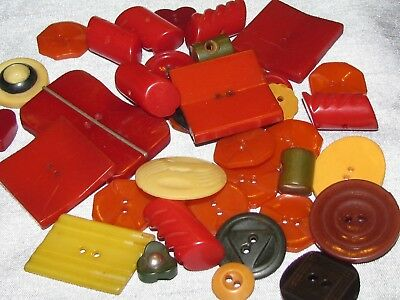 Vintage Lot of 39 Bakelite Buttons Great Patterns Sewing Crafts Art Deco