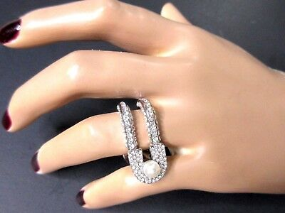 Exceptional AAA Grade Blinding CRYSTAL & Creamy Pearl Safety Pin Ring Size 9!