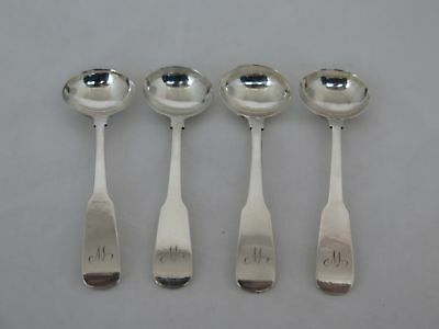 Set of 4 1830s American Coin Silver Salt Spoons Hallmarked JE
