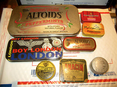 Lot Of Assorted Advertising Tins Anacin, Boy London, Swartchild, Luxor, Etc.