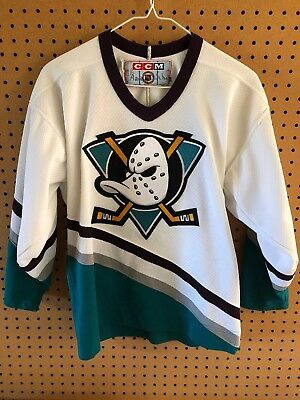 6a5fbd32 ... coupon code for vintage anaheim mighty ducks ccm stitched sewn jersey  youth l xl nhl 90s