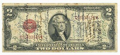Fr. 1505* $2 1928D U.S. Note Star Note WWII Short Snorter 20+ Signatures