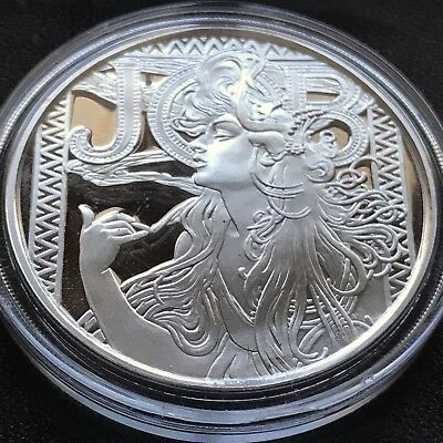 Alphonse Mucha 5 oz .999 Silver Coin JOB #1 in Art Series Collection Limited
