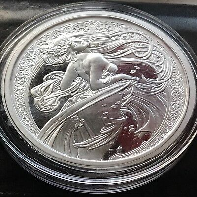 Alphonse Mucha 1 0z .999 silver coin DANCE colorized Art series collection rare