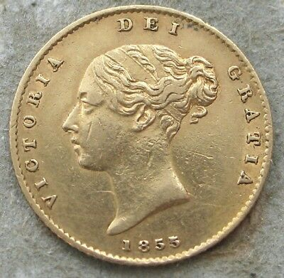 """1855 Great Britain Gold Half Sovereign   """"young Victoria""""  Shield Reverse"""