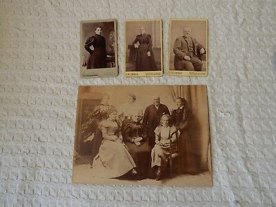 4 x Antique Victorian CDV / Cabinet Photographs – Family Group Portrait