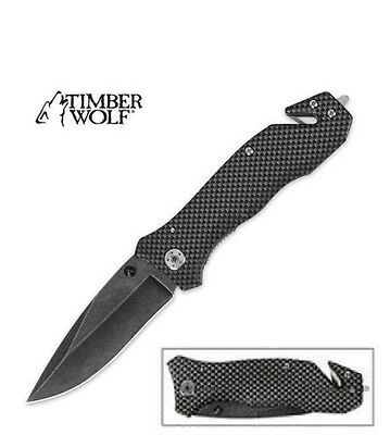 TIMBER WOLF pocket knife Stonewashed Blade Tactical Rescue Professionals