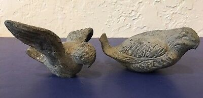 ANTIQUE CAST IRON Lot of 2 Sparrows Birds Garden Sculptures Old Figurines