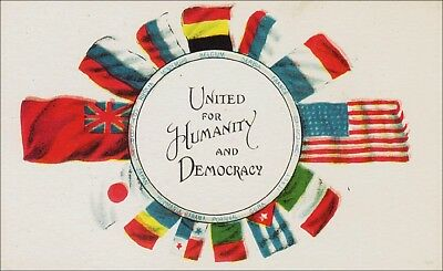 Military, World War 1: Flags of Allies United for Humanity & Democracy.