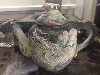 Hand Painted Antique Nippon Moriage Dragonware Coffee/Tea Pot