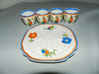 Barker Bros Tripoli Ware England Parrot 4 Egg Cup Holder Plate Set Hand Painted