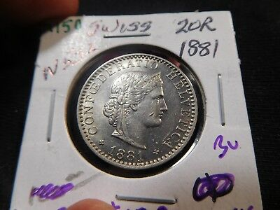 M150 Switzerland 1881 20 Rappen BU Catalog Value UNC=$100