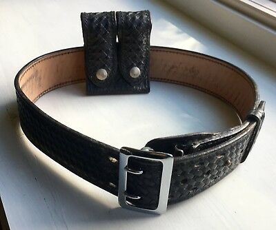 Vintage Police Basketweave Leather Smith & Wesson Belt & Don Hume Clip Case Sz32
