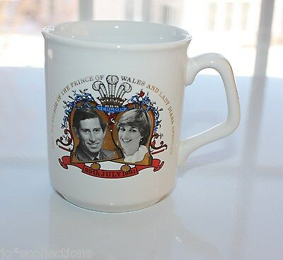 Charles & Diana Commemorative Royal Wedding White  Mug. 1981. Made in UK.