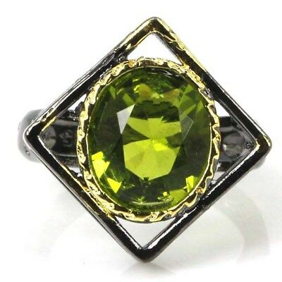 Sublime Antique Vintage Green Peridot Present Black Gold Silver Ring US 9.0#