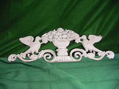Shabby French Style Basket Of Flowers  Pediment *hang Over A Mirror Or Door