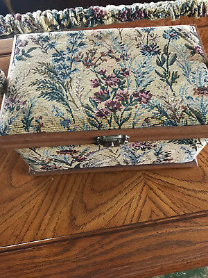 vtg Tapstery sewing box wood trim with fabric some supplies thread ect