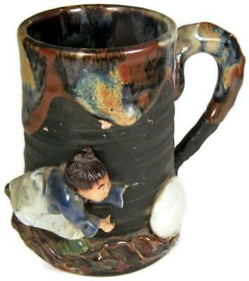 Antique 1890's Japanese Sumida Gawa Tankard Mug Man Playing a Game Roysai