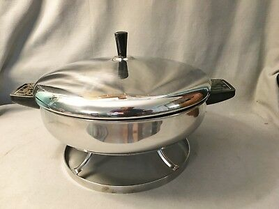 "Vintage Farberware 305A Electric 10 1/2"" Stainless Steel Fry Pan Buffet Skillet"