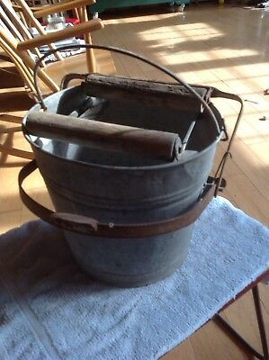 Vintage Galvanized Metal Mop Bucket w Handle Foot Operated Wringer Wood Rollers