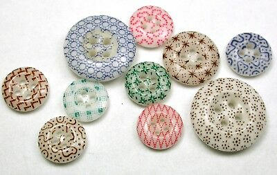"BB 10 Antique China Buttons Various Calico Designs 7/16"" to 11/16"""