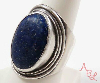 Sterling Silver Vintage 925 Large Solitaire Lapis Ring Sz 9.5 (16.1g) - 739341