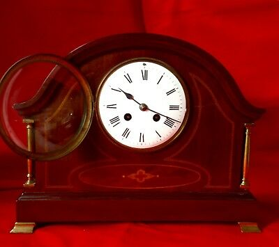 Edwardian c1900, French 7468 Inlaid Mantle Clock, As Described, Wrong Pendulum