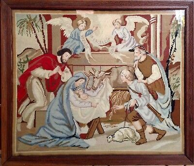 """Antique Fine Needlework Tapestry """"The Nativity"""" Petit Point Needlepoint Faces"""