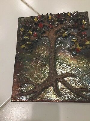 Glass Tree With Colored Stars Wall Art Signed