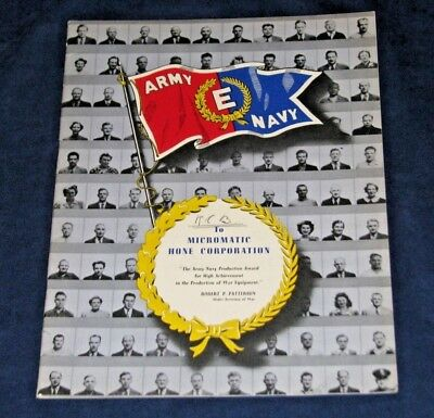 WWII US Army Navy E Production Award 1942 Micromatic Hone Corp. Detroit Michigan