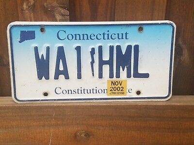 Connecticut License Plate Amateur Radio stickered 2002 Specialty WA1!HML Cool