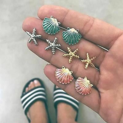 4 Pairs Starfish Shell Multicolored Stud Earrings Set Summer Beach Jewelry Women