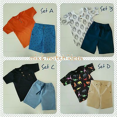 New Baby Boy Toddler T-Shirt Top Short Pants Casual Mix Match Size 1 Year Old