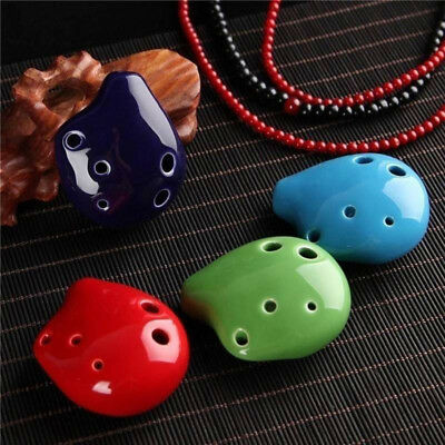 1xMini Flute Ceramic Kid Toy Musical Instruments 6 Hole Ocarina C Key Ceramic US