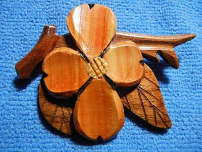 Large Vintage Carved Wood Dogwood Flower Pin Or Brooch
