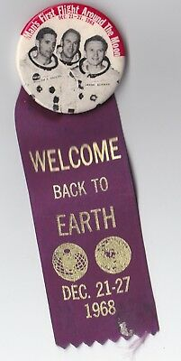 "Apollo 8 - First Flight Around The Moon - 1968 ""welcome Back"" Pin/button, Ribbon"