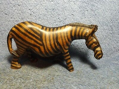 "Vintage, handcrafted wood ZEBRA, 7"" long, 3 1/4"" tall, very good condition."