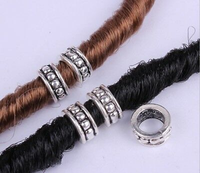 40 PCs/lot DIY Tibetan Carved Silver Metal Beads Dreadlock Beads dread hole 8mm