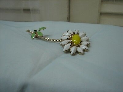 Vintage 50's-60's Enameled W/ Milk Glass Rhinestone Flower Gold Tone Brooch/Pin