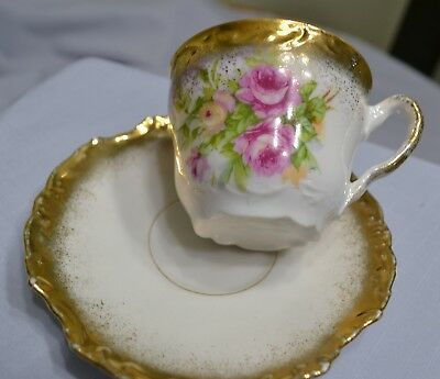 Vintage Cup And Saucer Roses And Gold/gilt Trim Made In Germany