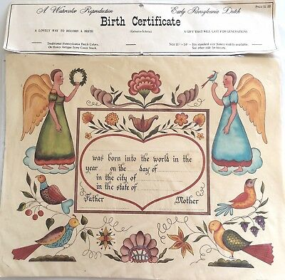 Early Pennsylvania Dutch 1967 Angels Birth Certificate Fill In 11x14 Vintage