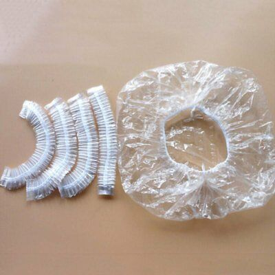 100pcs Disposable Clear Shower Caps Bathing Waterproof Hair Care Protect Hats
