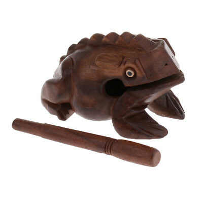 Wood Frog Carved Guiro Rasp Musical Percussion Toy w/ Stick Rod Large
