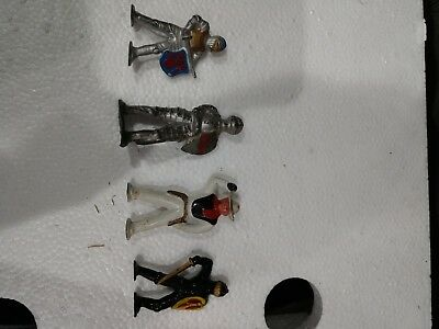 Lot of 3 Medieval Lead Figures and 1 Cowboy