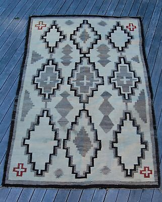"""Large Antique Navajo Rug  80"""" x 53""""  As Found As Is  Stained"""