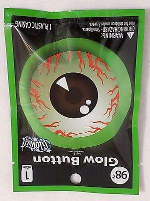 Gothic Halloween Creepy Glow Eyeball Button Costume Accessory New