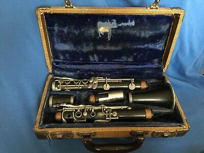 Vintage American Wood CLARINET by Harry Pedler Co. Elkhart Indiana Original Case
