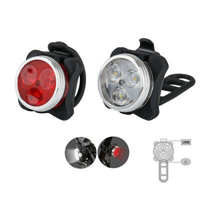 USB Rechargeable LED Bicycle Bike Headlight Taillight Safety Caution Lights NEW