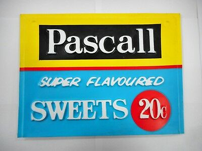 Vintage Pascall Double Sided Shop Display Stand Topper Advertising Sign